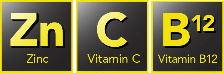 vitamin c symbol,zinc symbol and vitamin b 12 symbol