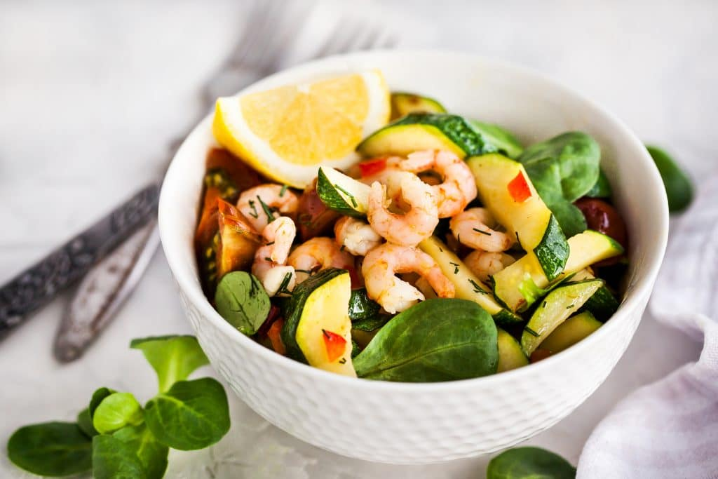 Shrimps and zucchini warm salad - delicious healthy food