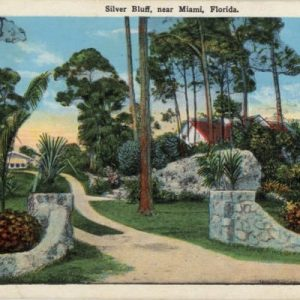 postcard of a pathway with the saying welcome to silver bluff estates