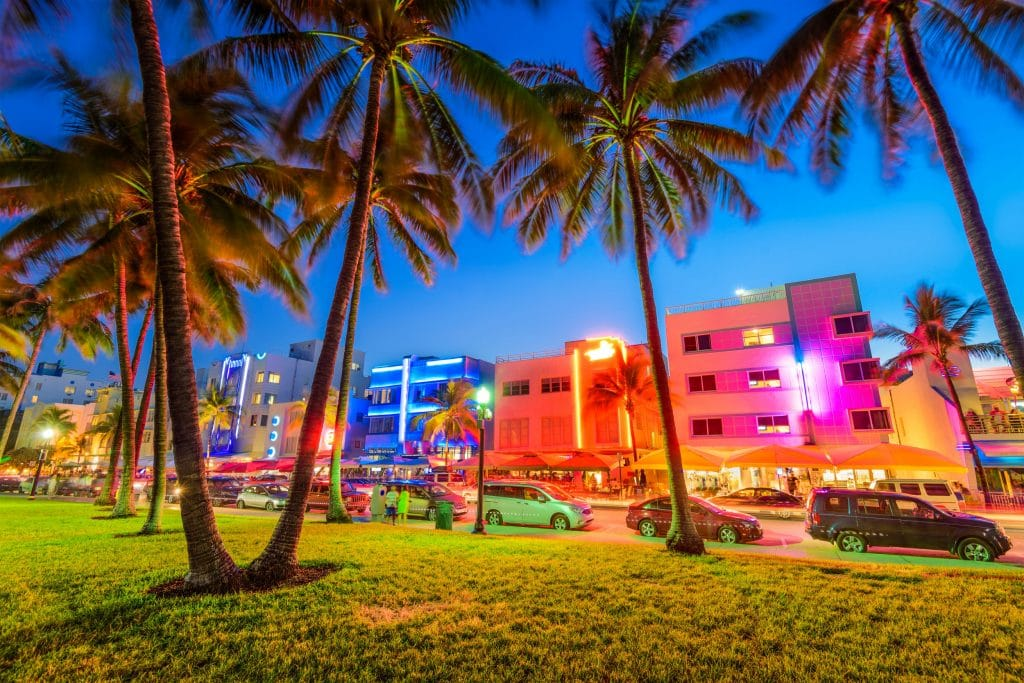 A view of Ocean Drive in Miami Beach at dusk