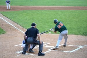Minor league baseball team playing a baseball game with umpire
